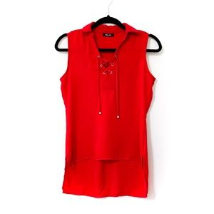 Red Lace Tie Hi-Lo Sleeveless Blouse Size S